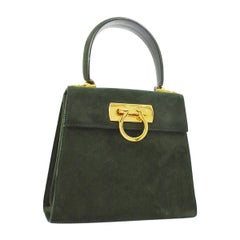 Salvatore Ferragamo Hunter Green Suede Gold Top handle Kelly Style Shoulder Bag