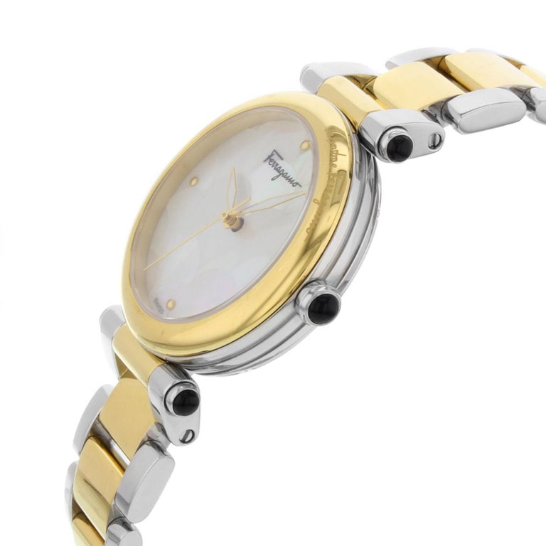 Salvatore Ferragamo Idillio Ion Plated Mother-of-Pearl Dial Steel Ladies Watch In Excellent Condition For Sale In New York, NY