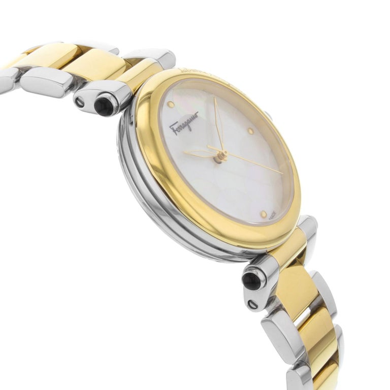Women's Salvatore Ferragamo Idillio Ion Plated Mother-of-Pearl Dial Steel Ladies Watch For Sale