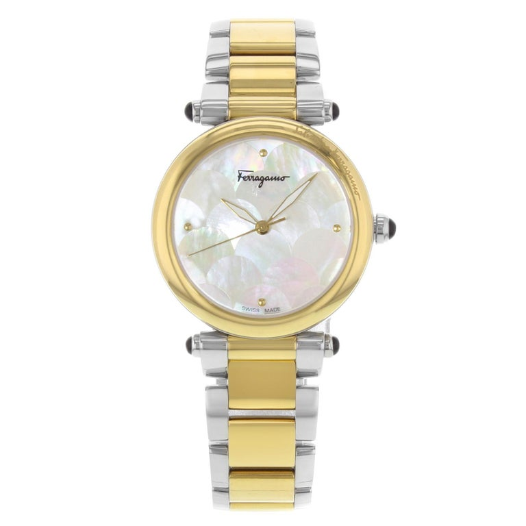 Salvatore Ferragamo Idillio Ion Plated Mother-of-Pearl Dial Steel Ladies Watch For Sale