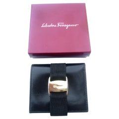 Salvatore Ferragamo Italy Black Leather Ribbon Trim Wallet in Box c 1990s