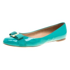 Salvatore Ferragamo Jade Green Patent Leather Varina Ballet Flats Size 40