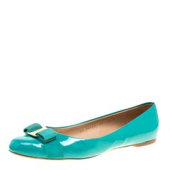 4a795e5ce Salvatore Ferragamo Jade Green Patent Leather Varina Ballet Flats Size 40. Salvatore  Ferragamo Peep Toe Pumps ...