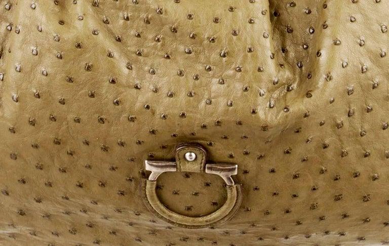 Salvatore Ferragamo Large Ostrich Skin Tote Shoulder Bag 1