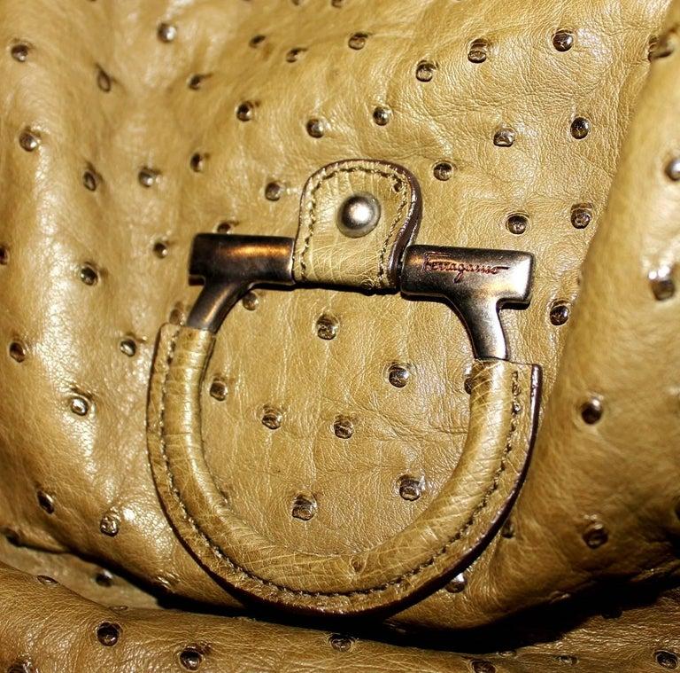Salvatore Ferragamo Large Ostrich Skin Tote Shoulder Bag 2