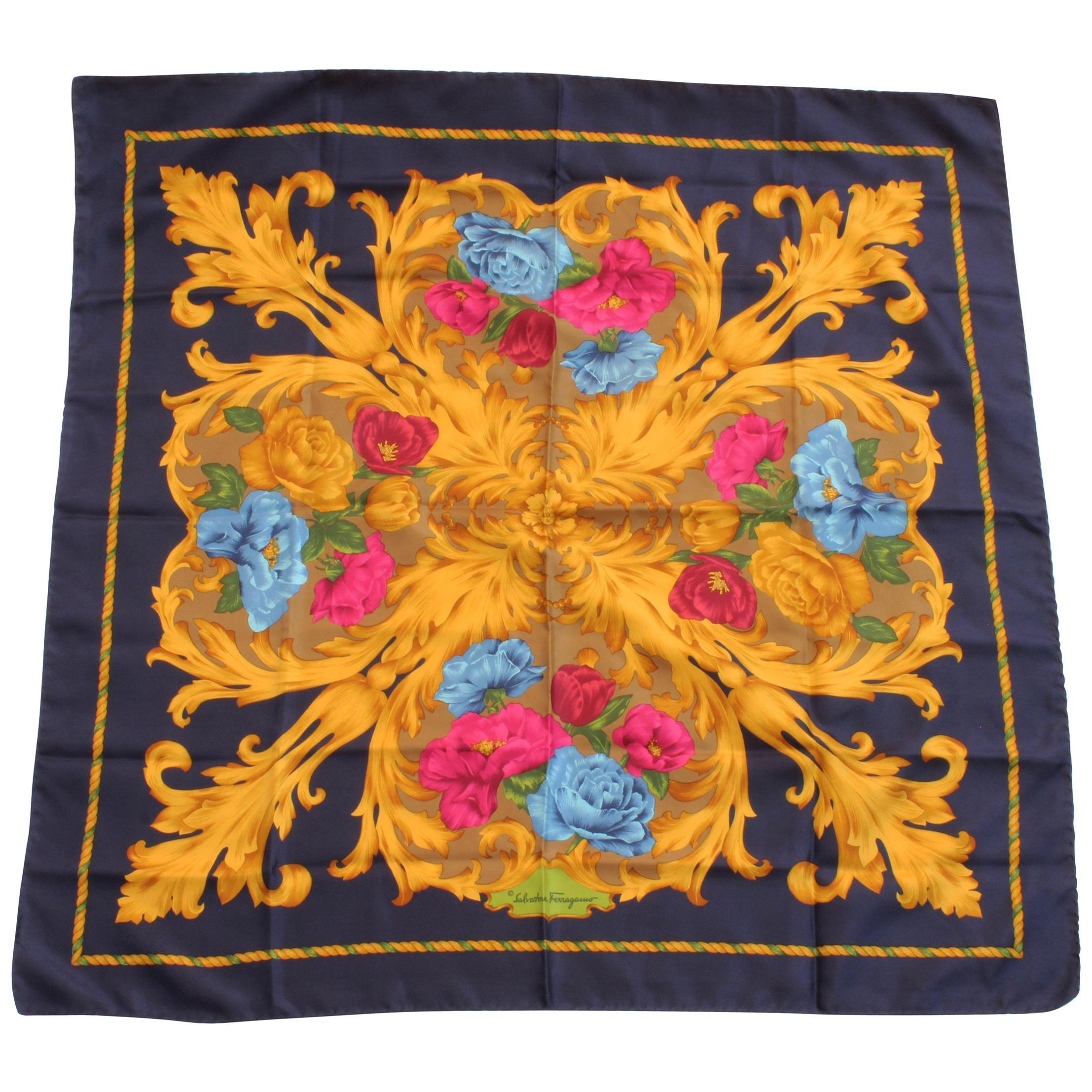 Salvatore Ferragamo Large Silk Scarf Shawl 35in Blue Gold Baroque Florals