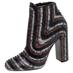 Salvatore Ferragamo Leather Feeling Zig Zag Block Heel Ankle Boots Size 37.5