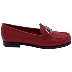 Salvatore Ferragamo Leather Rolo Loafers Moccassins Size 6.5C 37C