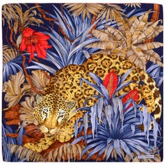"Salvatore Ferragamo Leopard Jungle Scene Silk Scarf 34"""