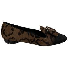 Salvatore Ferragamo Leopard Pony Hair Sarno Ballet Flat Size 8C 38.5C
