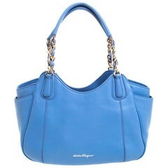 Salvatore Ferragamo Light Blue Leather Melinda Tote