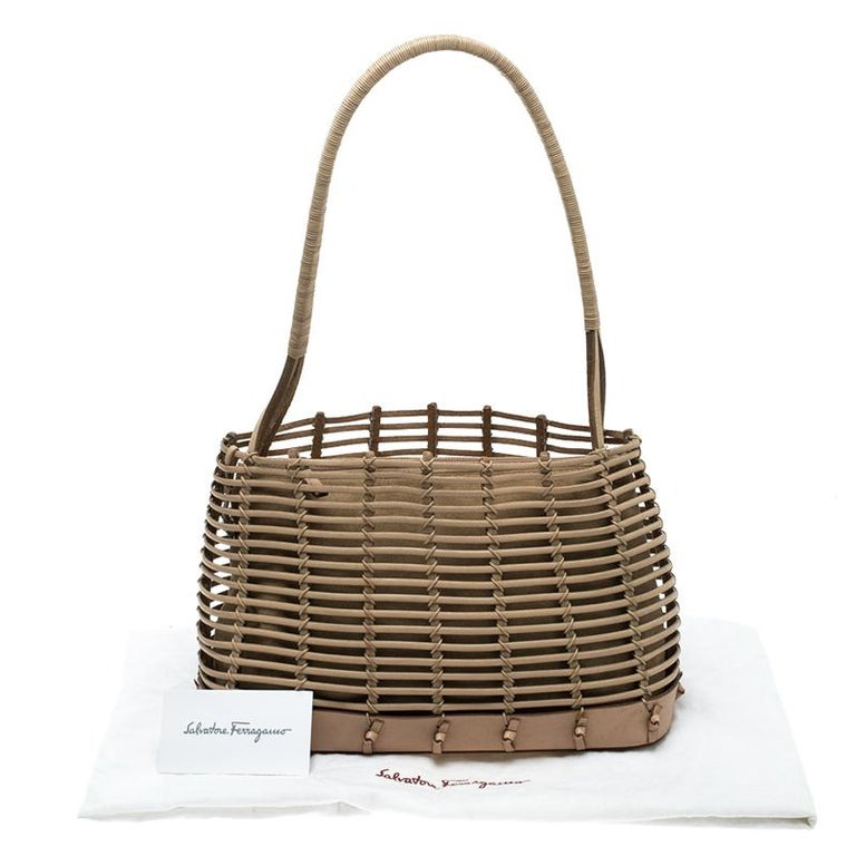 a0e3767425 Salvatore Ferragamo Light Brown Caged Leather Tote For Sale at 1stdibs