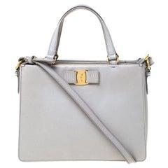 Salvatore Ferragamo Light Grey Leather Tracy Tote