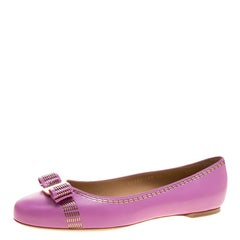 Salvatore Ferragamo Lilac Purple Leather Vara Ballet Flats Size 40.5