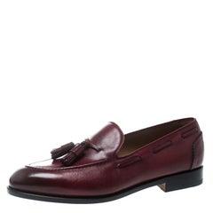 Salvatore Ferragamo Maroon Leather Loreno Tassel Loafers Size 43