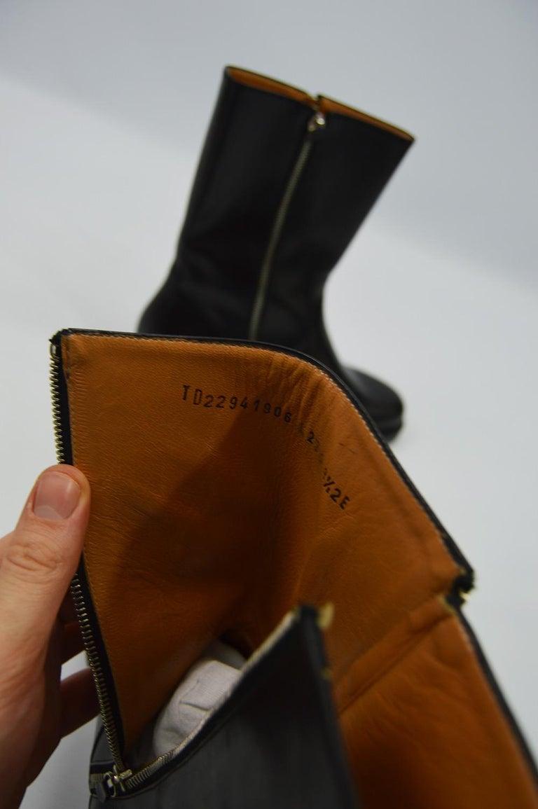 Salvatore Ferragamo Men's Vintage Minimalist Black Leather Double Zipper Boots For Sale 7