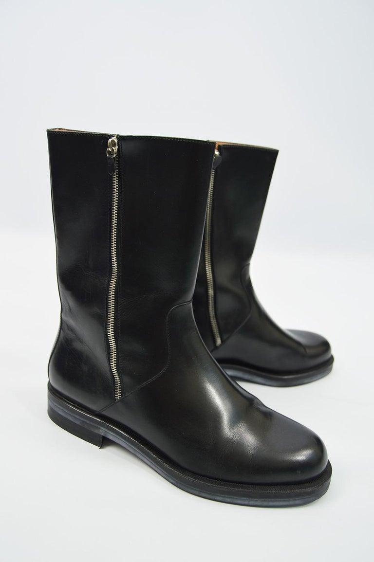 Salvatore Ferragamo Men's Vintage Minimalist Black Leather Double Zipper Boots For Sale 1
