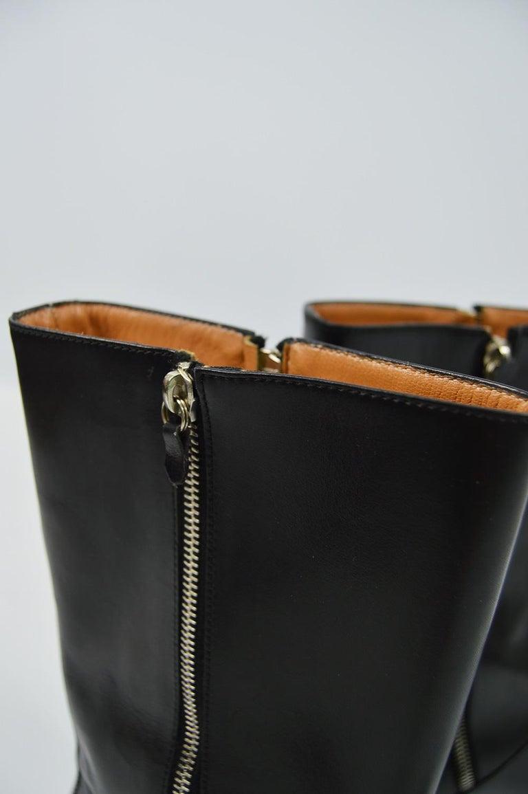 Salvatore Ferragamo Men's Vintage Minimalist Black Leather Double Zipper Boots For Sale 2