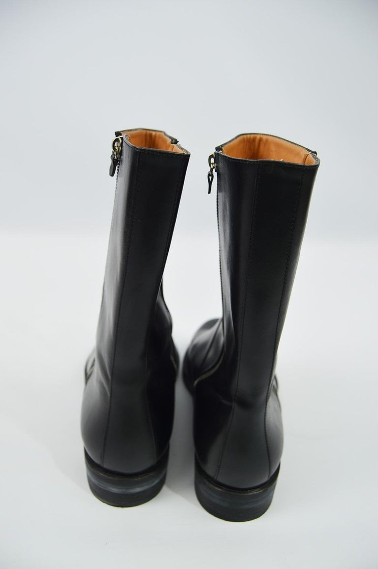 Salvatore Ferragamo Men's Vintage Minimalist Black Leather Double Zipper Boots For Sale 3