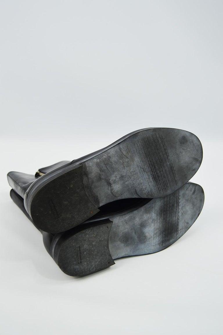 Salvatore Ferragamo Men's Vintage Minimalist Black Leather Double Zipper Boots For Sale 4
