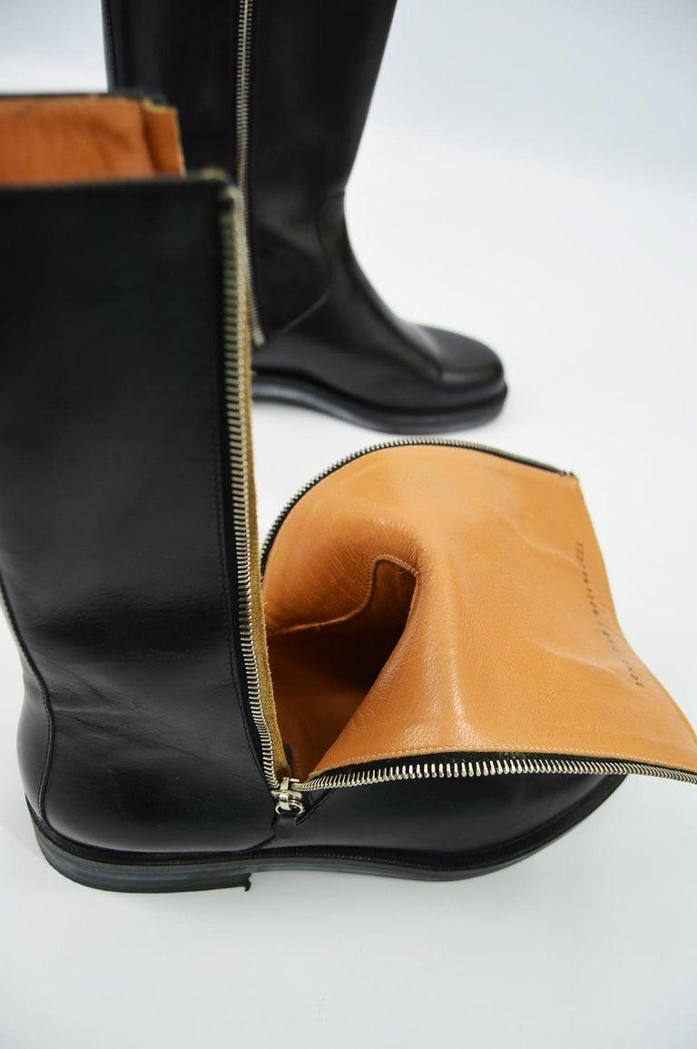 Salvatore Ferragamo Men's Vintage Minimalist Black Leather Double Zipper Boots For Sale 6