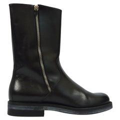 Salvatore Ferragamo Men's Vintage Minimalist Black Leather Double Zipper Boots