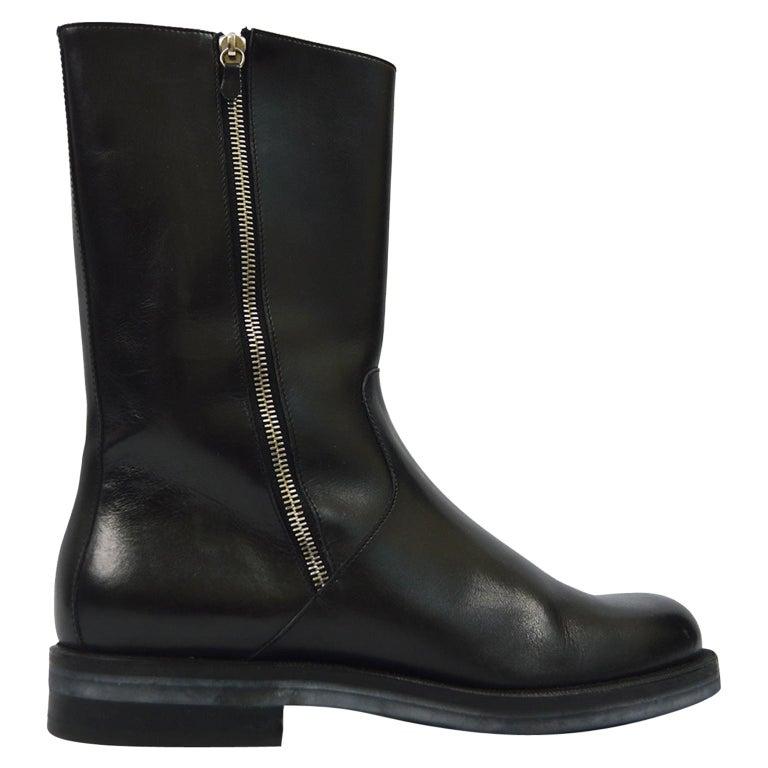 Salvatore Ferragamo Men's Vintage Minimalist Black Leather Double Zipper Boots For Sale