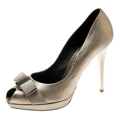 Salvatore Ferragamo Metallic Dull Gold Leather Vara Bow Peep Toe Platform Pumps