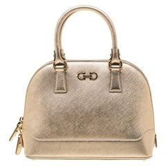 Salvatore Ferragamo Metallic Gold Saffiano Leather Darina Satchel