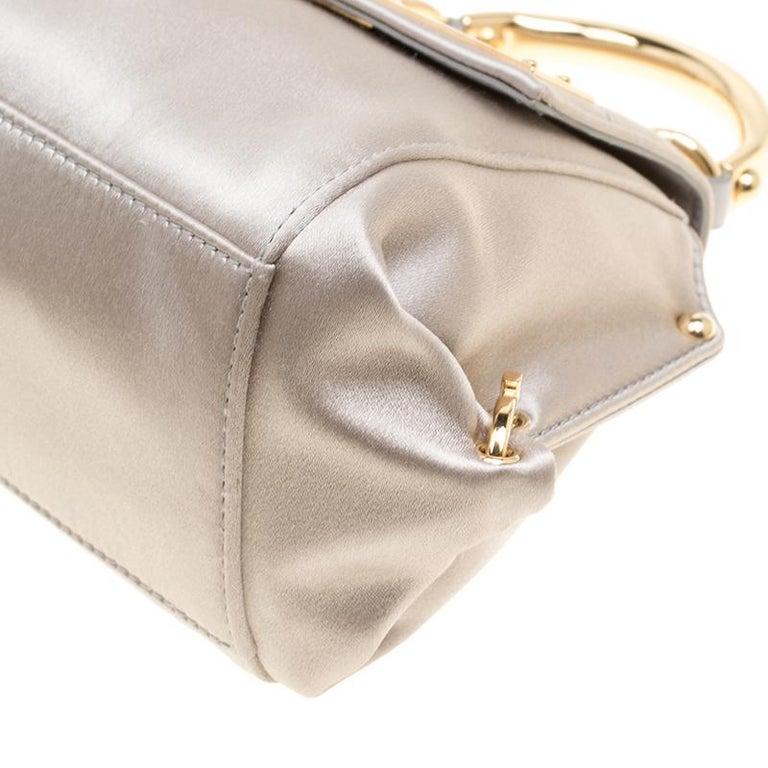 Salvatore Ferragamo Metallic Grey Satin Mini Sofia Crossbody Bag For Sale 5