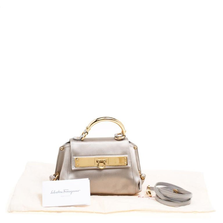Salvatore Ferragamo Metallic Grey Satin Mini Sofia Crossbody Bag For Sale 6