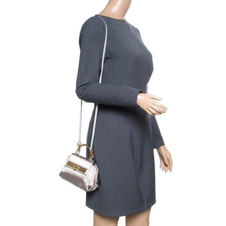 Beige Salvatore Ferragamo Metallic Grey Satin Mini Sofia Crossbody Bag For Sale