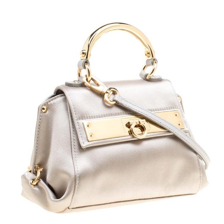 Salvatore Ferragamo Metallic Grey Satin Mini Sofia Crossbody Bag In New Condition For Sale In Dubai, AE