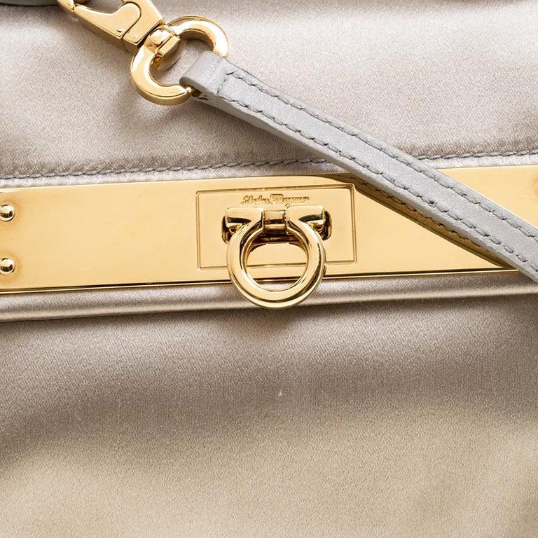 Women's Salvatore Ferragamo Metallic Grey Satin Mini Sofia Crossbody Bag For Sale