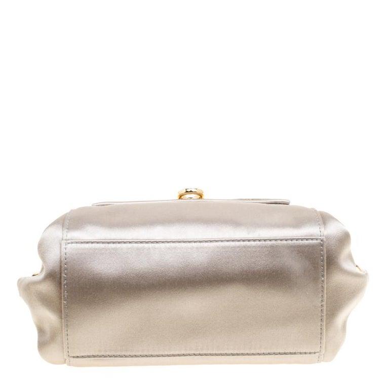 Salvatore Ferragamo Metallic Grey Satin Mini Sofia Crossbody Bag For Sale 1