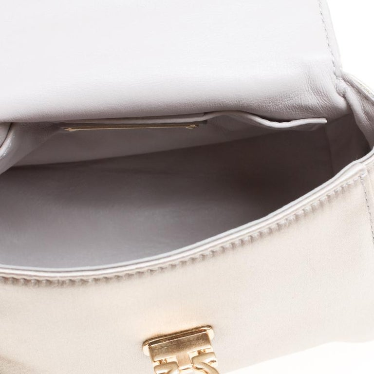 Salvatore Ferragamo Metallic Grey Satin Mini Sofia Crossbody Bag For Sale 2