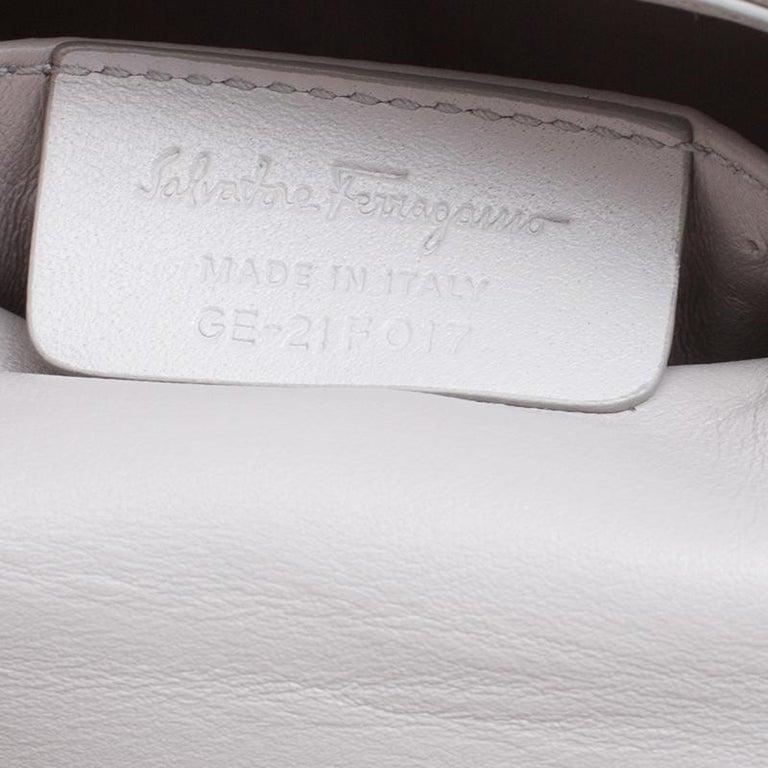 Salvatore Ferragamo Metallic Grey Satin Mini Sofia Crossbody Bag For Sale 3