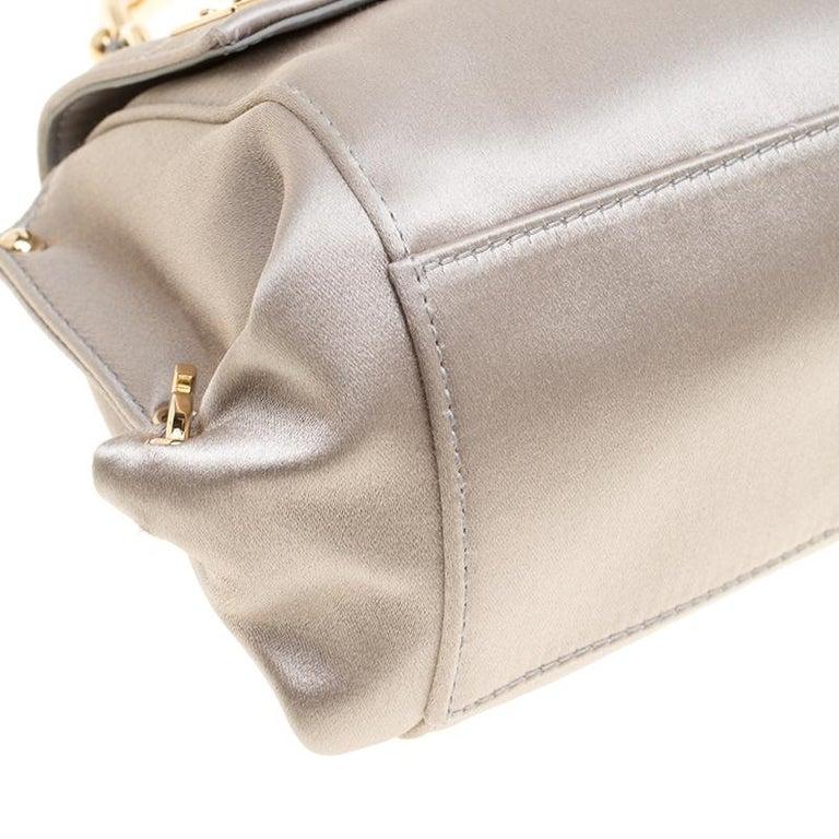 Salvatore Ferragamo Metallic Grey Satin Mini Sofia Crossbody Bag For Sale 4