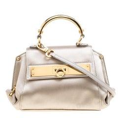 Salvatore Ferragamo Metallic Grey Satin Mini Sofia Crossbody Bag