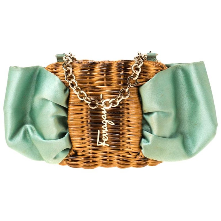 Salvatore Ferragamo Mint Green/Brown Rattan and Satin Bow Chain Clutch For Sale