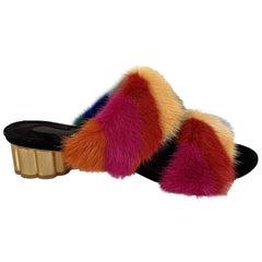 Salvatore Ferragamo Multicolor Belluno Fur Slide Sandals Size 7.5C 38C