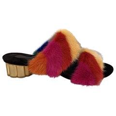 Salvatore Ferragamo Multicolor Belluno Fur Slide Sandals Size 7C 37.5C