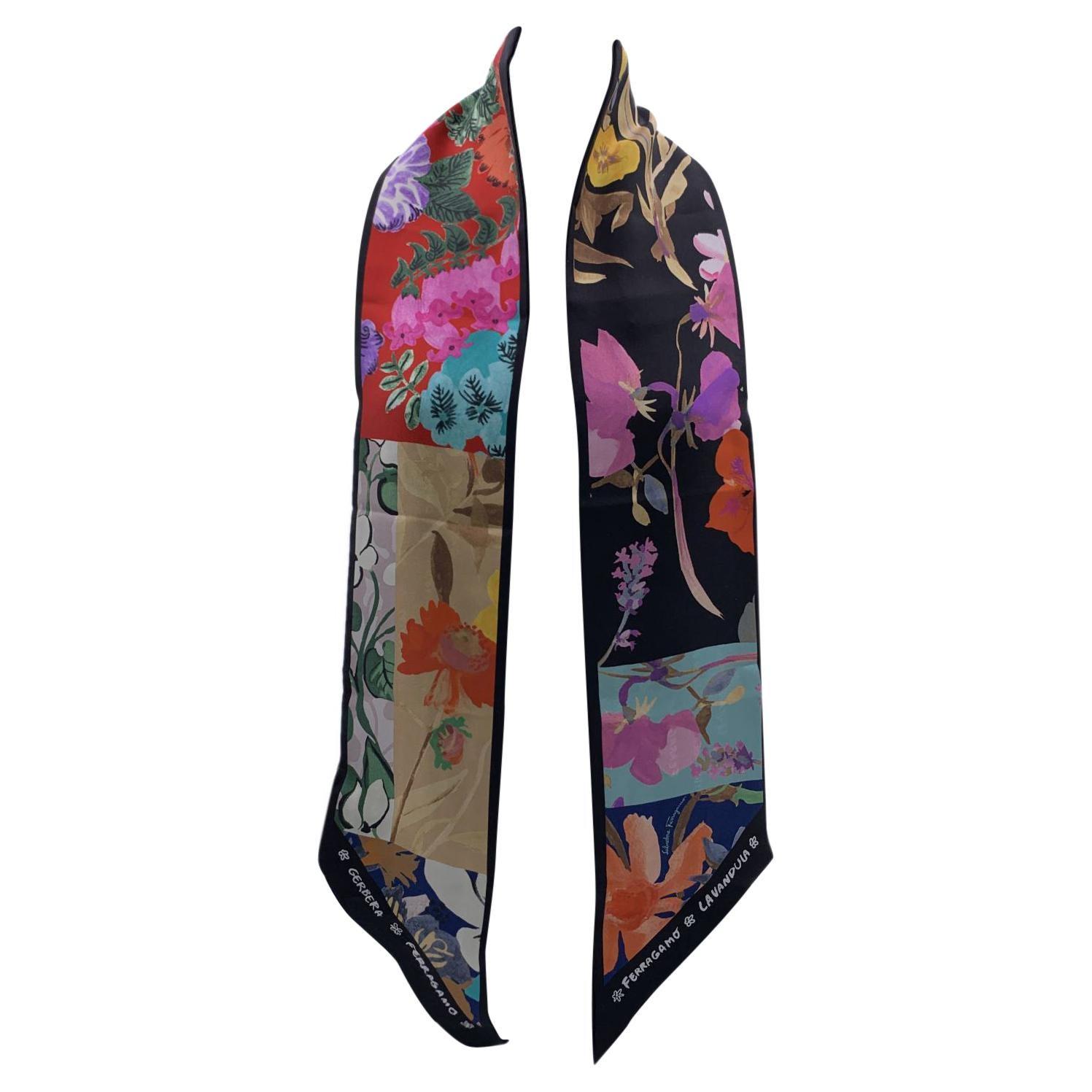 Salvatore Ferragamo Multicolor Botanic Print Silk Bandeau Scarf