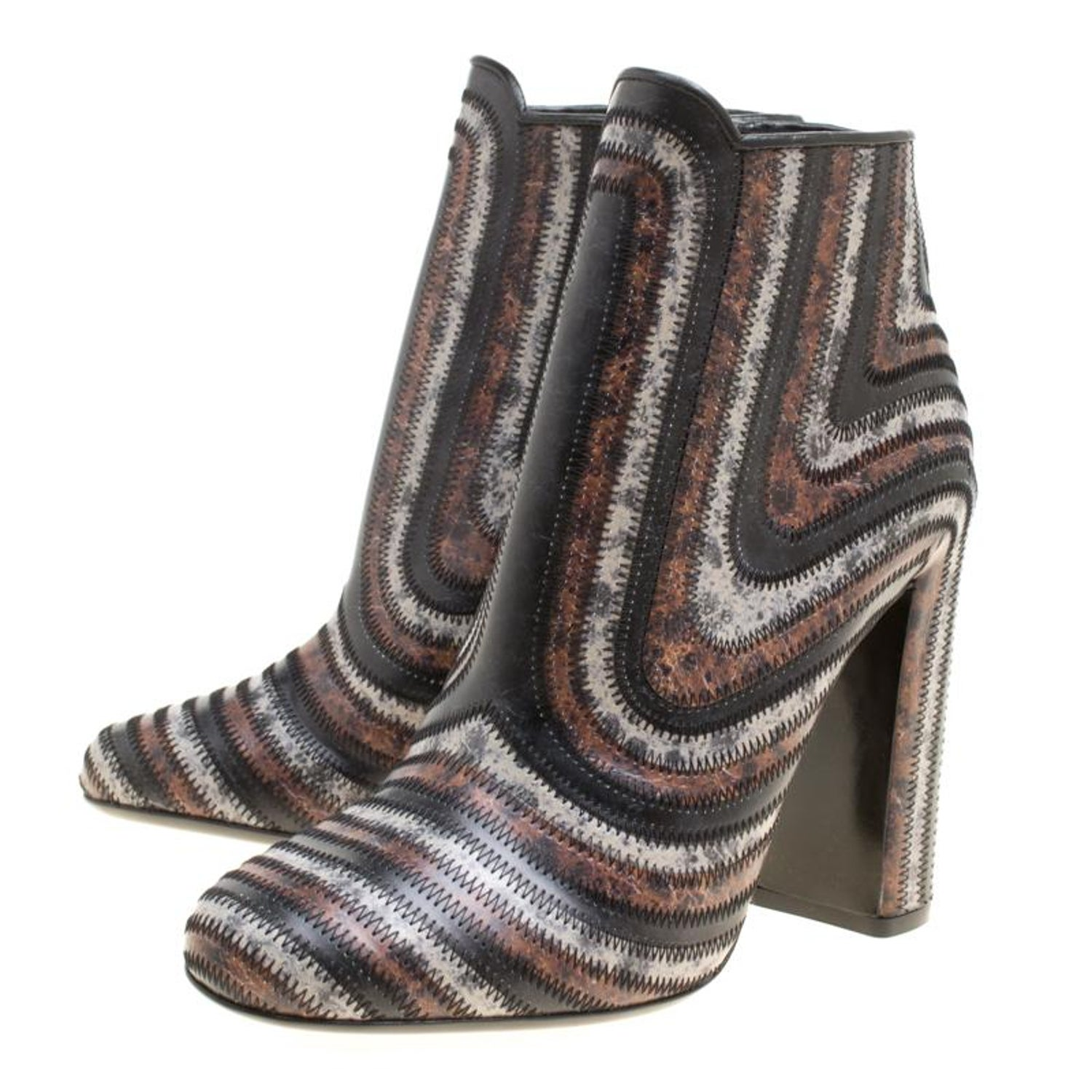 6fadb467be92 Salvatore Ferragamo Multicolor Leather Feeling Zig Zag Block Heel Ankle  Boots Si For Sale at 1stdibs