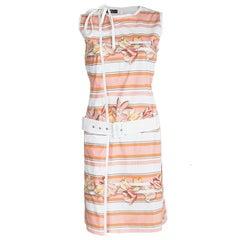 Salvatore Ferragamo Multicolor Printed Cotton Belted Wrap Dress M