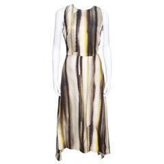 Salvatore Ferragamo Multicolor Printed Sleeveless Asymmetric Dress M