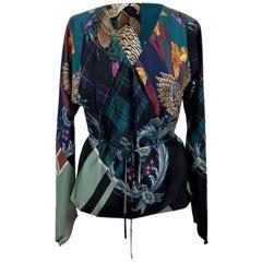 Salvatore Ferragamo Multicolor Silk Printed Wrap Blouse Size 42 IT