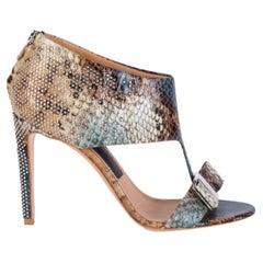 SALVATORE FERRAGAMO multicolor STUDDED PELLAS PYTHON Sandals Shoes 36