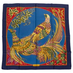 Salvatore Ferragamo Navy Birds Scarf