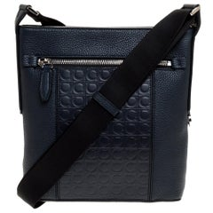 Salvatore Ferragamo Navy Blue Gancio Embossed Leather Messenger Bag